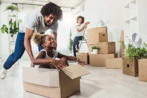 Moving companies in Brampton helping young family move into new home